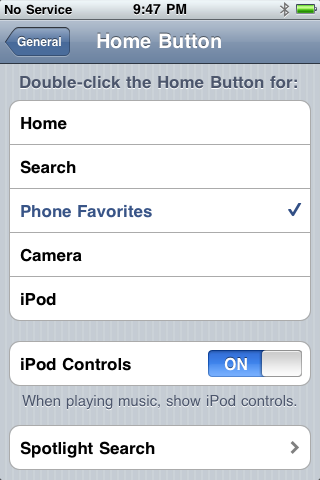 iPhone Home Button Settings Page
