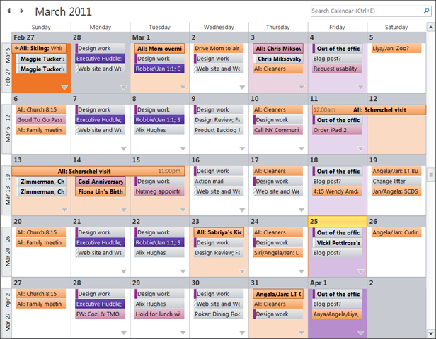 Microsoft Outlook 2010 Month View