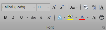 Microsoft Word 2010 Ribbon - Font Section
