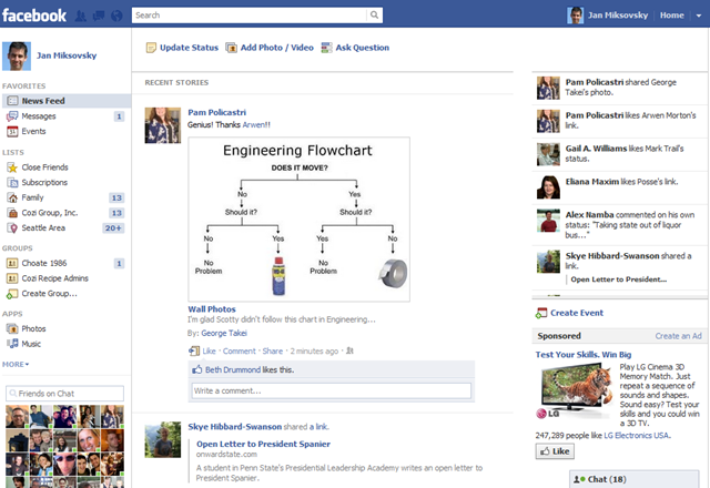 Facebook Side Panel (Initial State)
