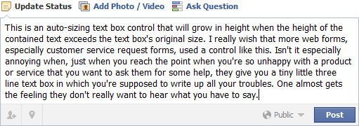Facebook Status Box (with more text)