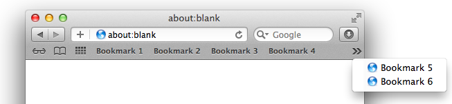Safari Bookmark Bar with Overflow