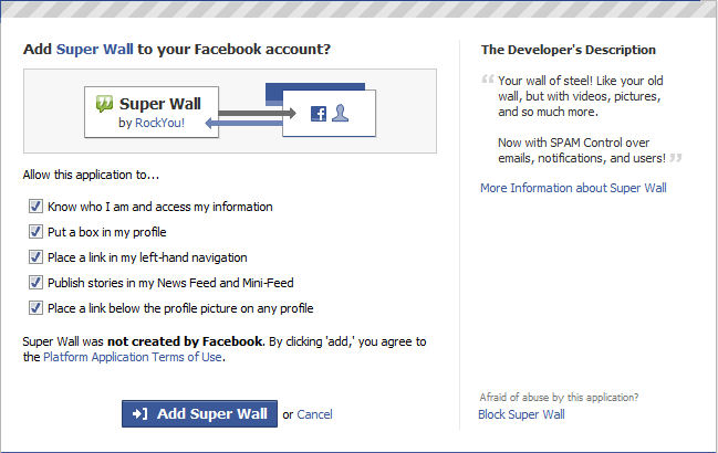Facebook Add Super Wall
